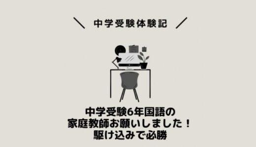 中学受験6年国語の家庭教師お願いしました!駆け込みで必勝